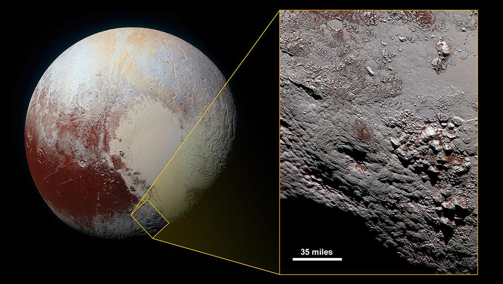 Одне із сучасних зображень Плутона, зроблене 14 липня 2015 року станцією New Horizons з відстані близько 34 тис. км. На збільшеному фрагменті видно льодовий вулкан на горі Райт Монс
