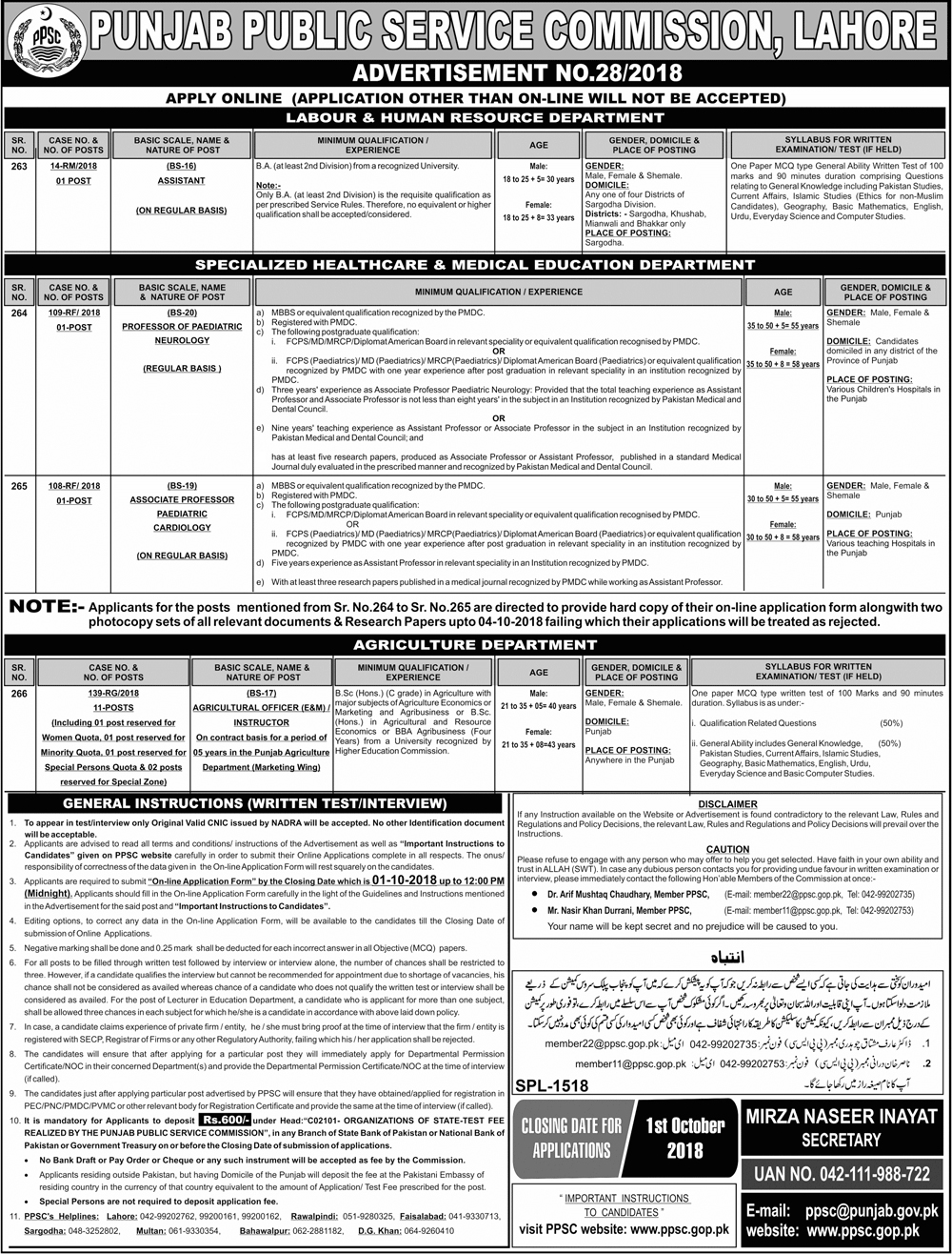 Latest Vacancies Announced in PPSC.GOP.PK Punjab Public Service Commission PPSC 16 September 2018