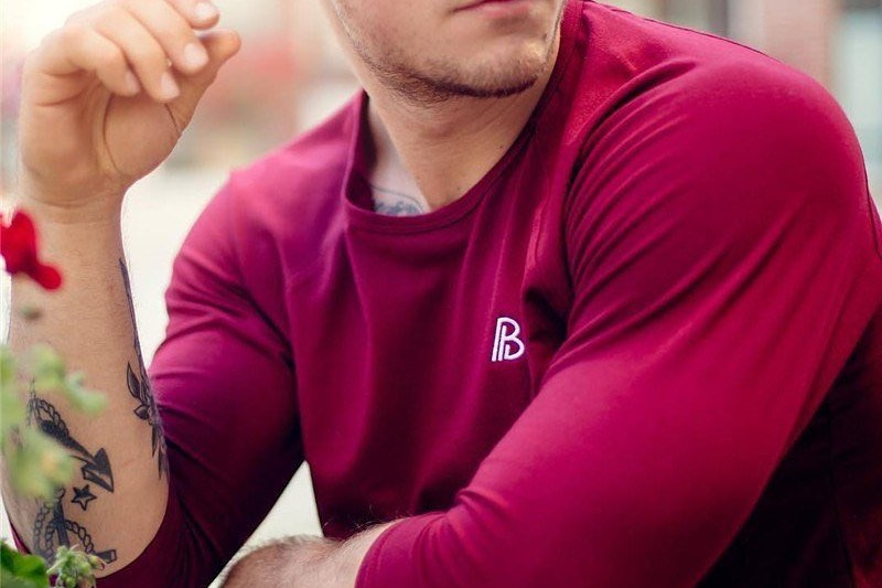 A red color stretchable crew neck t-shirt.