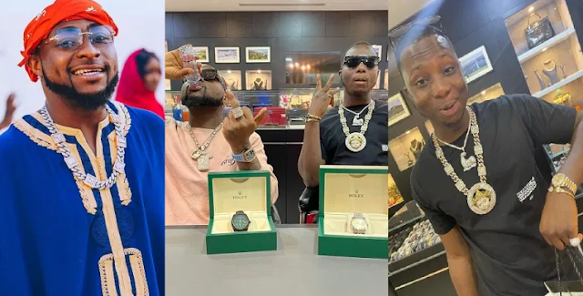 The DMW boss, Davido Gifts Friend N10 Million Rolex Watch During Recession [Photos]