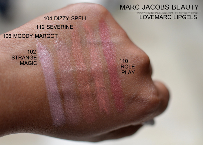 Marc Jacobs Beauty LoveMarc Lip Gel Lipsticks Indian Darker Skin Makeup Blog Photos Swatches 102 strange magic 106 moody margot 112 severine 104 dizzy spell 110 role play