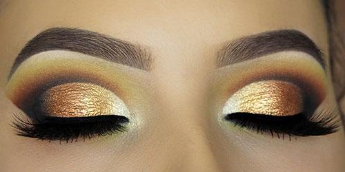Maquillaje de ojos clásico en marrones y dorados