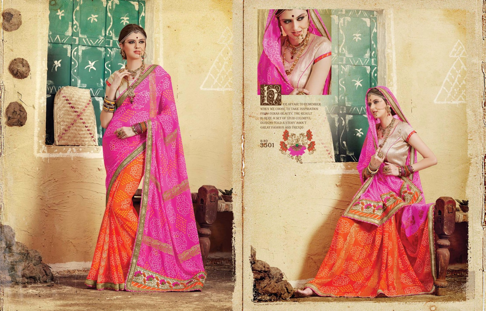 Bandhej Vol 2-Georgette Bandhani Jari With Embroidery Work Online Saree