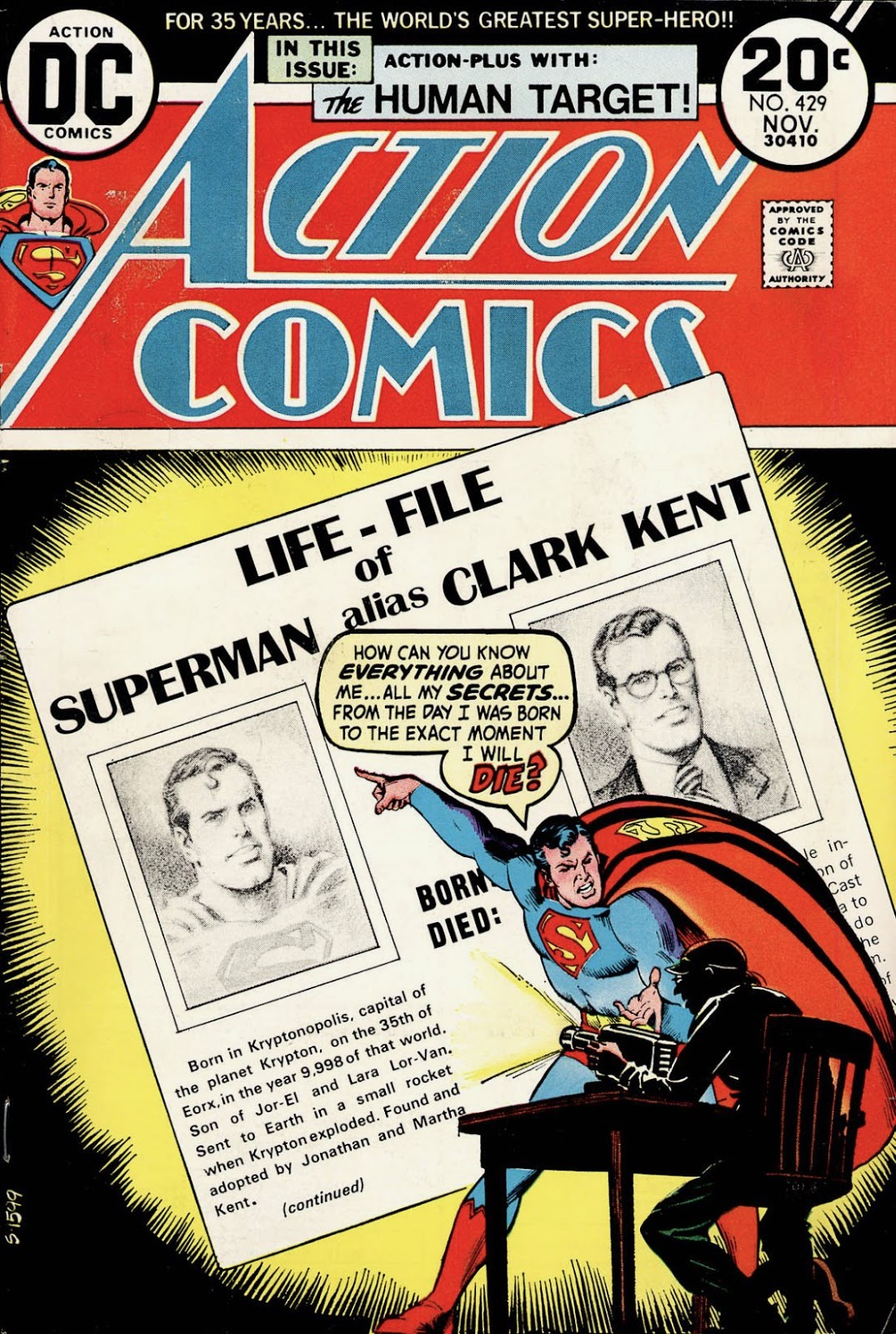 Superman confronting fellow in chair projecting 'Life-File of Superman alias Clark Kent' on wall, asking 'How can you know everything about me... all my secrets...?'
