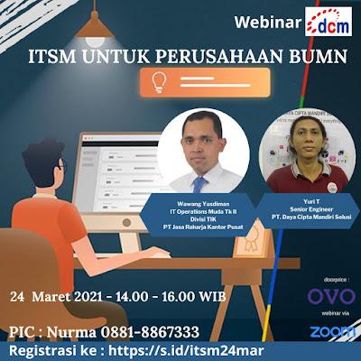 Ikutilah Virtual Event Webinar ITSM Untuk Perusahaan BUMN 24 Maret 2021