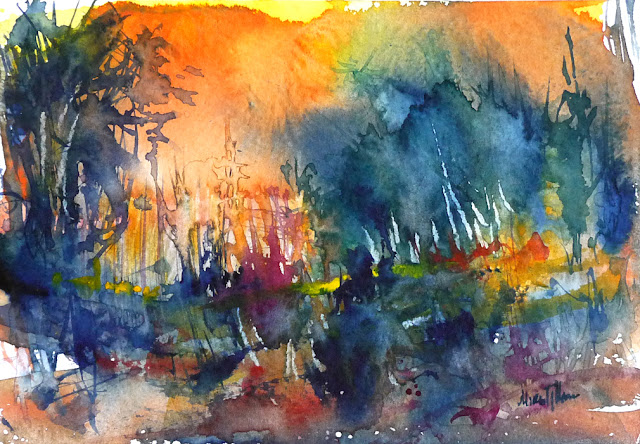 Fairytale forest watercolor colorful landscape painting by Mikko Tyllinen