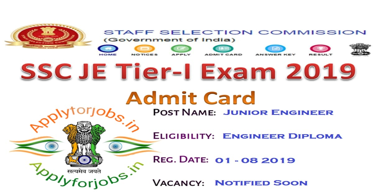 SSC JE Tier I Exam 2019, applyforjobs.in