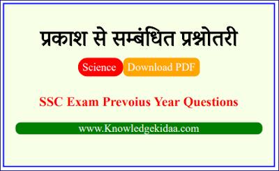 प्रकाश से सम्बंधित प्रश्नोतरी | SSC Exam Prevoius Year Questions | PDF Download | Objective Questions |