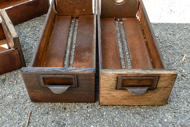 Card catalog drawers before and after stain