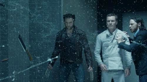 Hugh Jackman, Michael Fassbender, James McAvoy in X Men: Days of Future Past