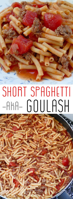 Delicious, easy and budget friendly lunch or dinner recipe! This goulash is ready in less than 30 minutes and great served with a salad, veggies and buttered bread!