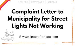complaint letter for street light not working