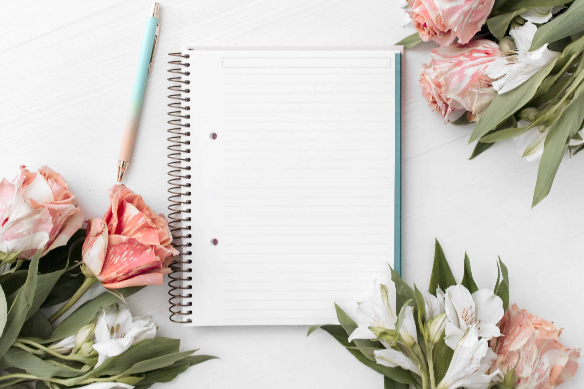 Flowers and note pad