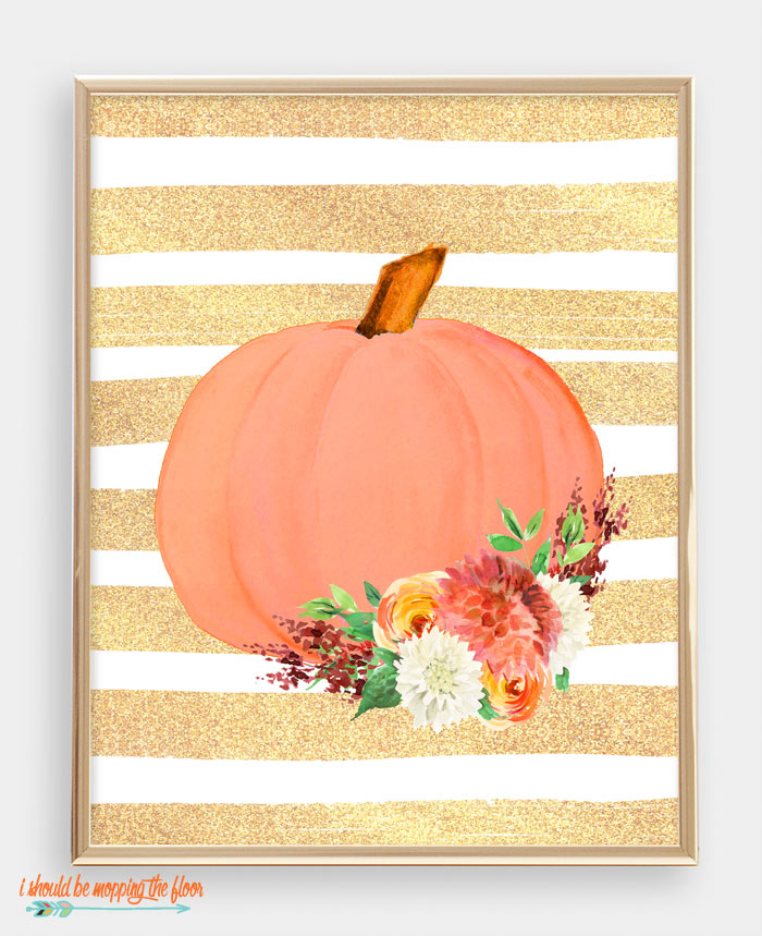 Watercolor Floral Pumpkin Printable