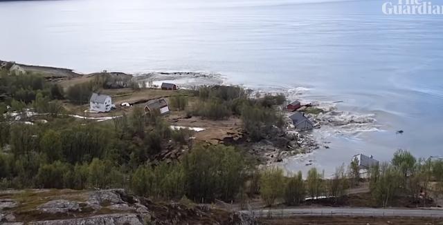 挪威阿爾塔鎮近郊海岸發生嚴重土石流(視頻截圖)