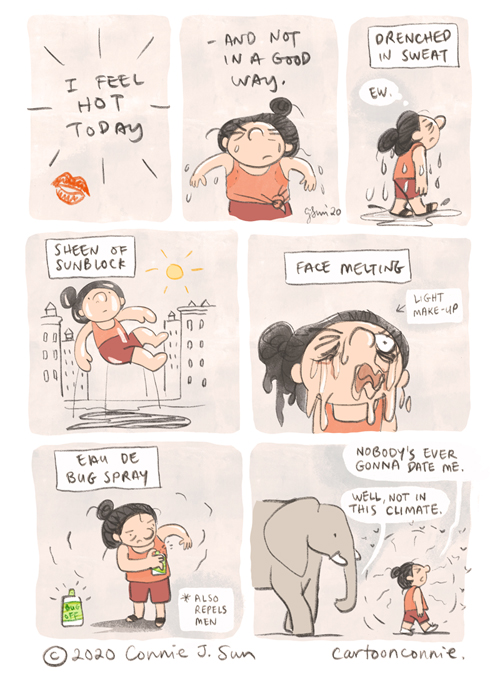 comic strip, summertime, humor, illustration, connie sun, cartoonconnie