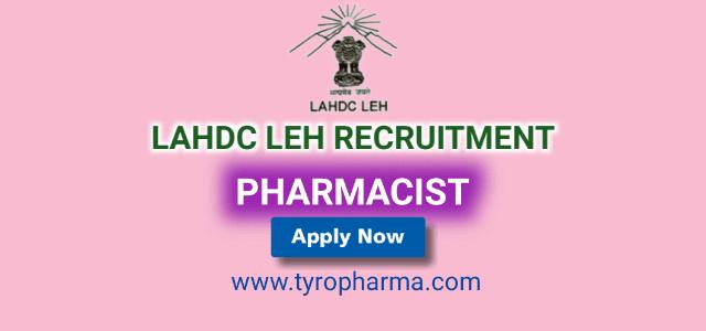 pharmacist job at lahdc leh, lahdc leh job, pharmacist job in jammu and kashmir, pharmacist job, vacancies