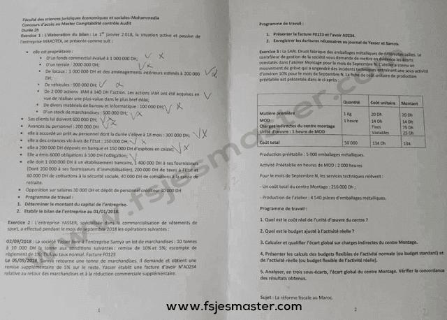 Exemple Concours Master Comptabilité Contrôle Audit (CCA) 2019-2020 - Fsjes Mohammedia