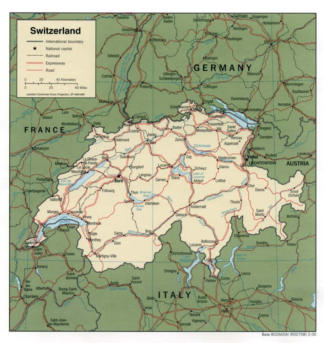 Kaart Landen West Europa Kaart Zwitserland En Bern Met Kantons