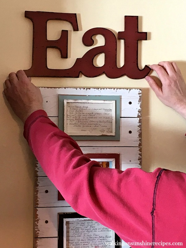 Eat sign with Recipe Card Project as kitchen art from Walking on Sunshine