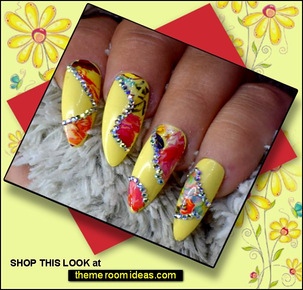 Yellow Crystal Floral Nails flower Fake Nails Roses Flowers Floral Decals Stickers