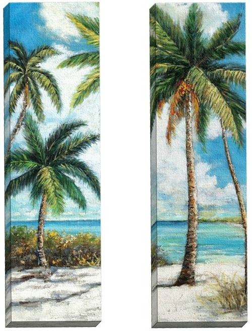 Set of 2 Palm Trees on the Beach Canvas Art