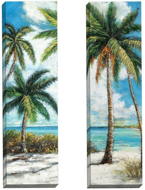 Palm Trees on the Beach Canvas Art Set of 2 - Beach Home ...