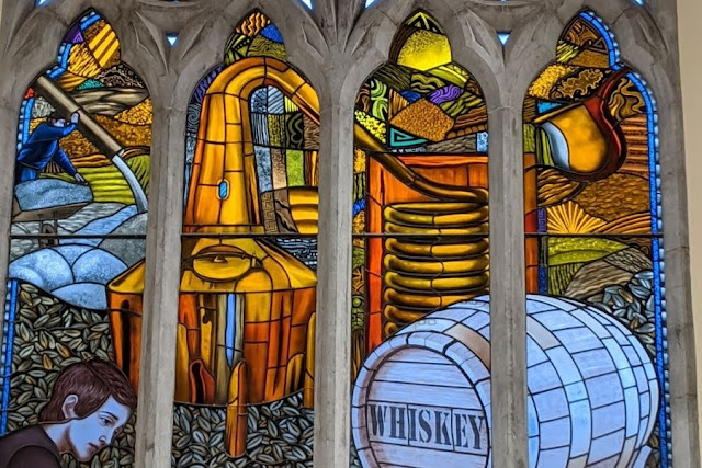 Dublin History: Pearse Lyons Distillery whiskey themed stained glass