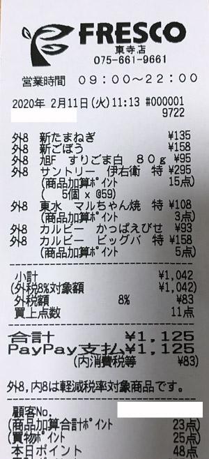 フレスコ 東寺店 2020/2/11 のレシート