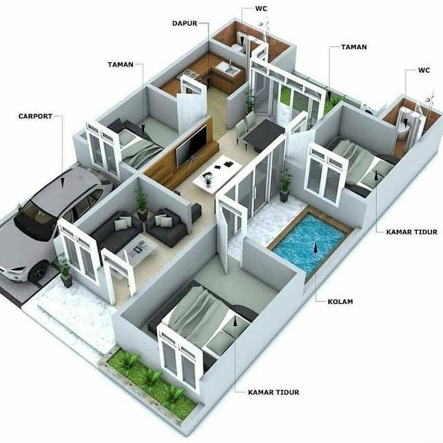 Denah Rumah Minimalis Ukuran 8x10 Terbaru