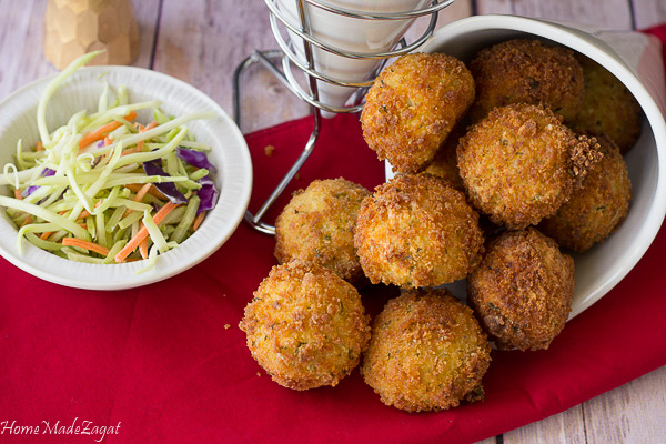 Fried Stuffed Potato Balls - mashed potato stuffed with seasoned meat and fried to golden perfection
