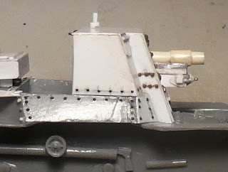 Side view-rivet details, shortened gun barrel