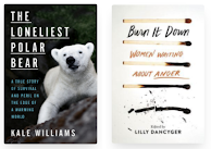 Two cover images. One has an adorable baby polar bear and the other has a line of burnt out matches.