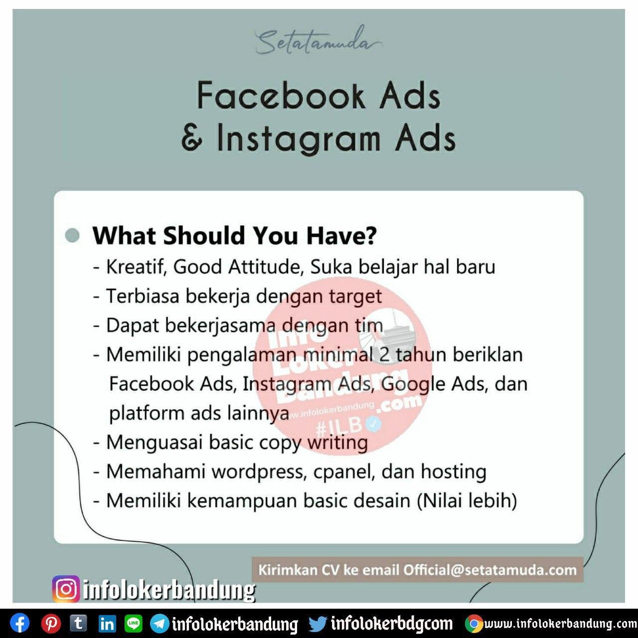 Lowongan Kerja Faceviij Ads & Instagram Ads Setatamuda Bandung Juli 2020