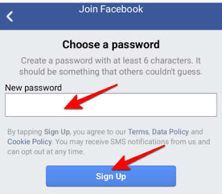 create new password and click sign up