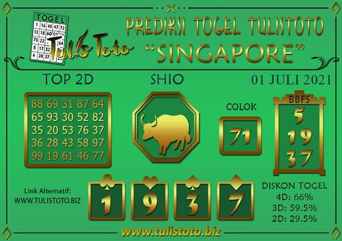 Prediksi Togel SINGAPORE TULISTOTO 01 JULI 2021