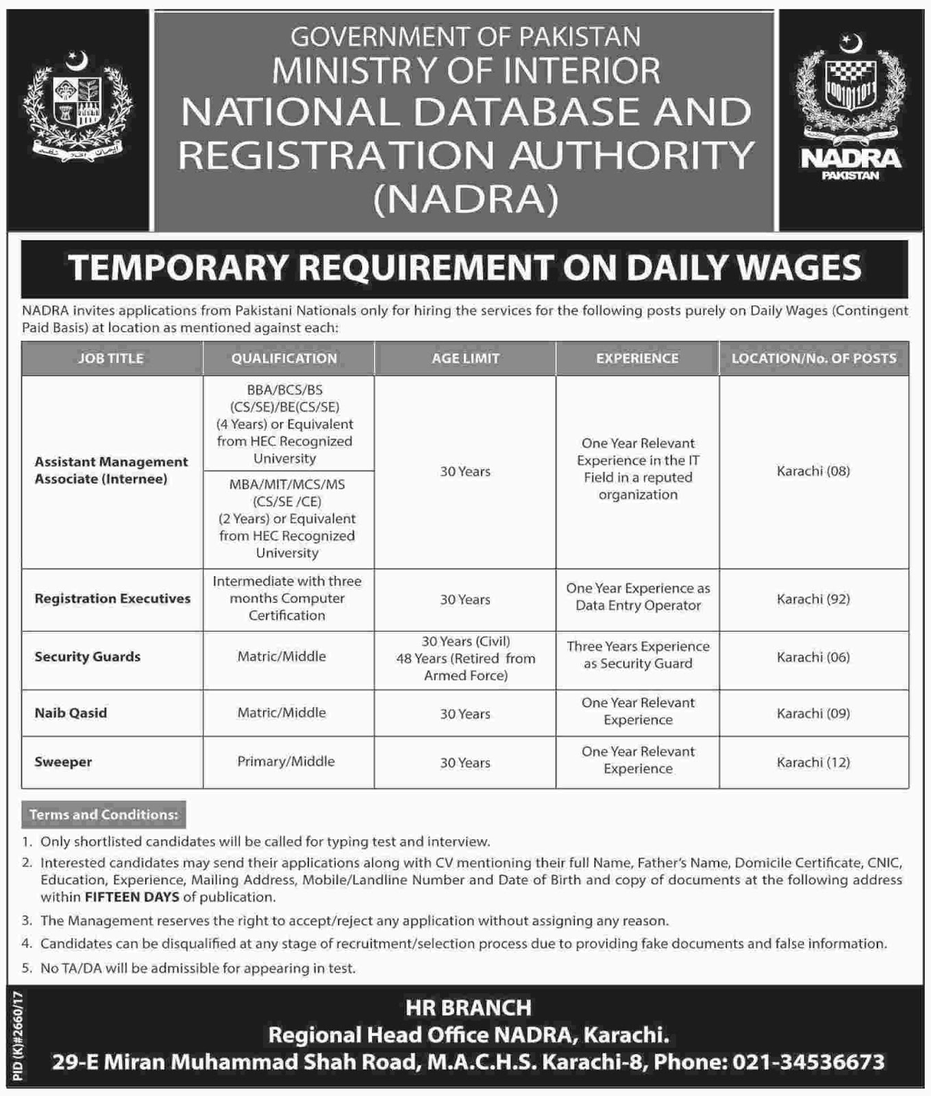 National Database And Registration Authority NADRA  jobs Jan 2018