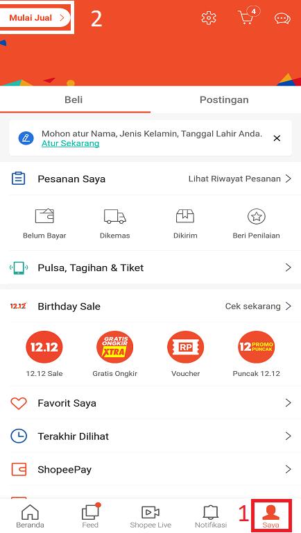 Fitur Toko di Halaman Saya Pada Aplikasi Marketplace Shopee di Smartphone.