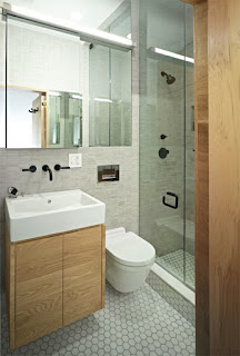 stylish small bathroom design mixed with corner floating toilet plus frame less mirror ideas
