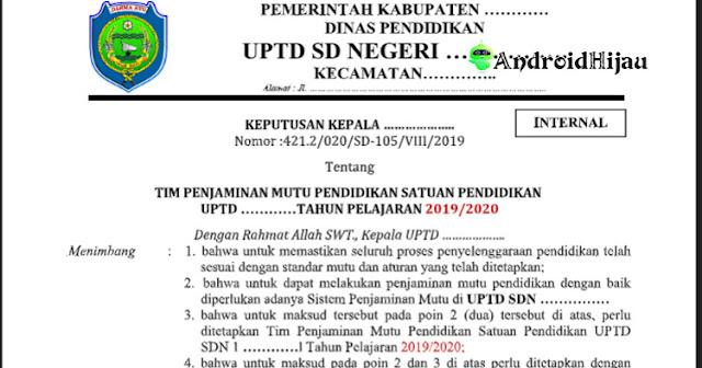 Format SK Tim Penjamin Mutu Sekolah, Contoh SK TPMS, Format surat keputusan anggota TPMS Sekolah
