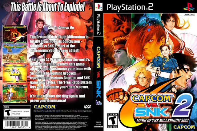Descargar Capcom vs SNK 2 ps2 iso NTSC-PAL Mark of The Millenium (Millionaire Fighting en Japón) es el sexto crossover de juegos de lucha de Capcom, y el segundo con la compania SNK-Playmore. Gráficamente es similar a su predecesor, los cambios llegaron en la mecánica de lucha y en la cantidad de personajes. Fue lanzado en el 2001 para la recreativa NAOMI, un año después para Sega Dreamcast y para Playstation 2 y después para Microsoft X-Box y Nintendo GameCube. https://www.pxjuegos.es/
