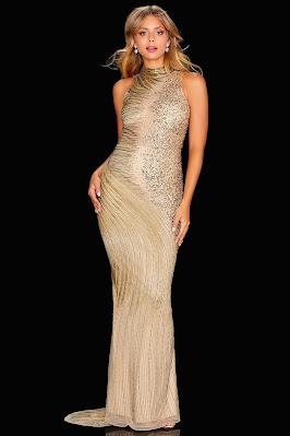 Amarra choker beaded Gold Prom dress
