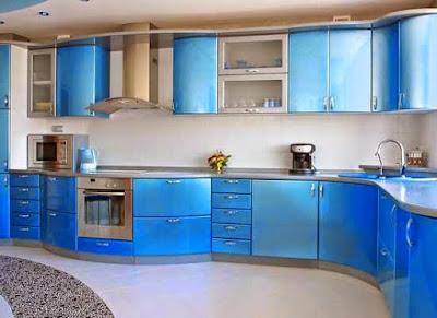 Desain Interior Kitchen Set Minimalis Dengan Warna Cerah