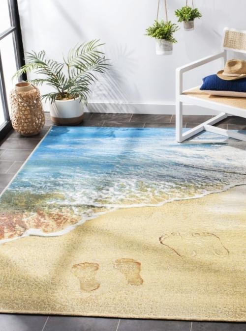 Beach Footprints Rug