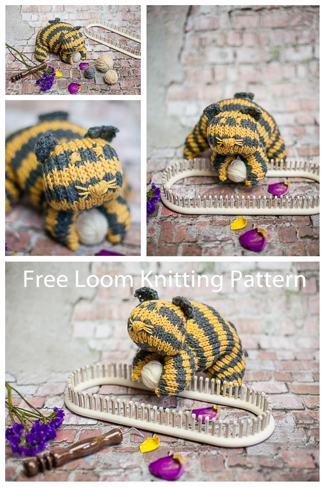 loom knit cat, loom knit stuffed animal, loom knit cat pattern, free pattern, free loom knitting patterns, striped cat, knit cat pattern, knit cat, loom knitting, loom knit amurigami, amurigami,