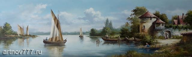 Картина на холсте, Пейзаж с видом залива и парусниками