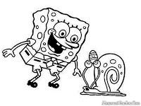 Garry Spongebob Snail Coloring Pages Gambar Gary Dan Sponge Bob Square Pants Untuk Diwarnai