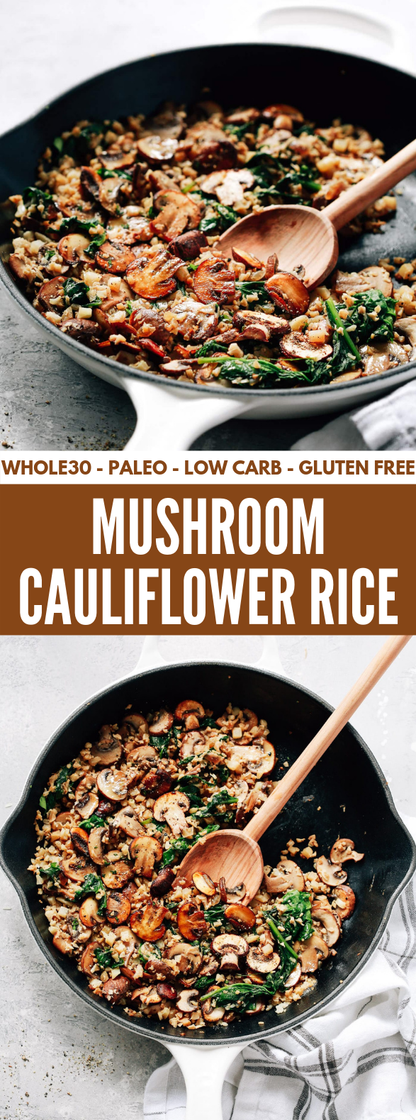 Mushroom Cauliflower Rice Skillet Recipe #healthydinner #lowcarb