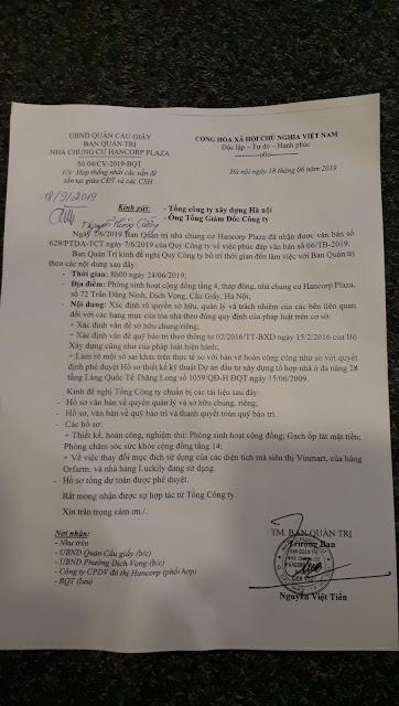 Công văn 04/CV-2019-BQT của BQT gửi Tổng Cty Xây dựng Hà Nội về họp trực tiếp