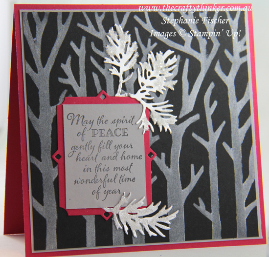 #thecraftythinker #stampinup #xmascard #sneakpeek #2019holidaycatalogue #peacefulboughs #basicpatternmasks , Christmas Card, Basic Pattern Masks, Peaceful Boughs, Sneak Peek, 2019 Holiday Catalogue, Stampin' Up Demonstrator, Stephanie Fischer, Sydney NSW